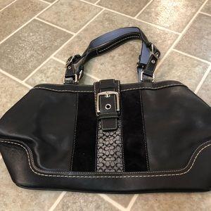 Black leather COACH shoulder bag